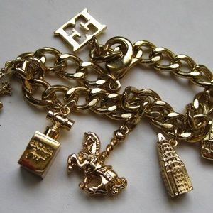 Escada Joyful Gold Chain Dangle Charm Bracelet